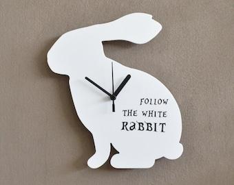 Follow the White Rabbit - Wall Clock
