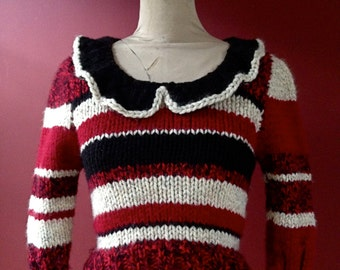 Striped Peter Pan Collar Pullover SWEATER SALE