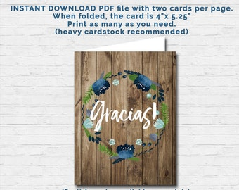 SPANISH Baby Boy Shower THANK YOU card Gracias Gift Tag Foldable Rustic Wood Flowers Matching Invite Raffle Vintage Instant Download Pdf