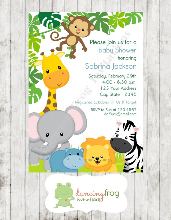 Boy or Girl Wild Animals Jungle Safari Baby Shower