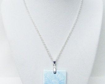 Light Blue Ceramic w/Leaf Patterns Pendant Necklace