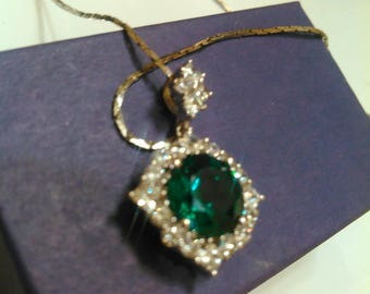 CZ Emerald Pendant necklace Sterling silver