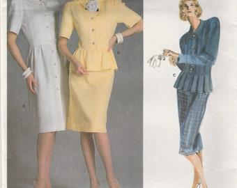 Peplum Jacket & Skirt or Dress Pattern Vogue 1862 Size 12 Uncut
