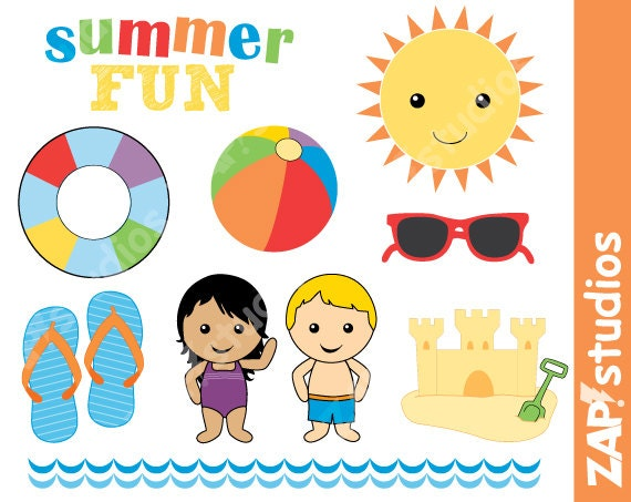 summer fun clip art set instant download swimming clip art rh etsystudio com summer fun clipart images summer fun clipart images