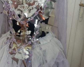 Wedding dress, alternative wedding, cosplay dress, ice queen, beaded top, fantasy wedding, bridal, lilac color, silver, irridiscent, hearts