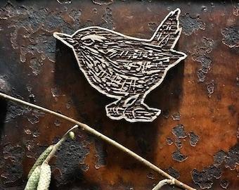 Lou Tonkin Wooden wren brooch