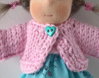 Little hand knitted cardigan for 5 inches Waldorf doll