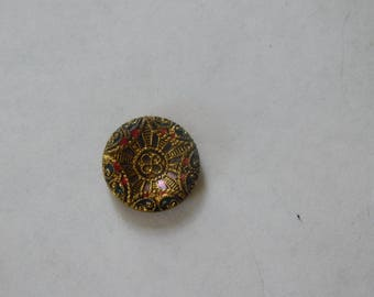 Button~Brass Colored With Enameling~