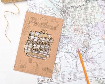 "Portland Oregon Sign Wood Ornament,  Unique Gift, Souvenir, Ready to Hang 4"" x 4"""