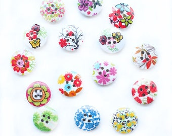 Wooden Flower Buttons - Set of 10 Christmas Flowers Crafting Sewing Buttons