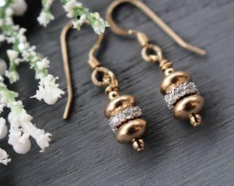 Gold and silver Dangle Earrings, Dainty Modern Gold Earrings, Cubic Zirconia Earrings, 14k gold fill earrings, minimalist gold bead earrings