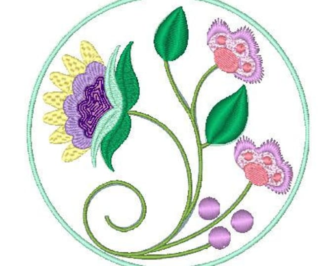 Jacobean Circle Flowers  ( 10 Machine Embroidery Designs from ATW )