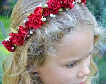 Red Rose and Pearl Flower Crown Head Garland