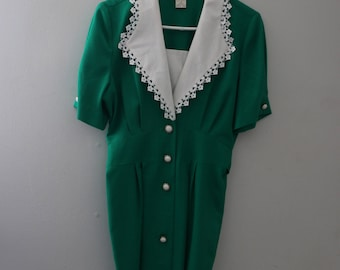Vintage Green Collared Dress