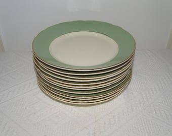 VILLEROY & BOCH 12 dessert plates two-tone Dinnerware tableware old vintage condition