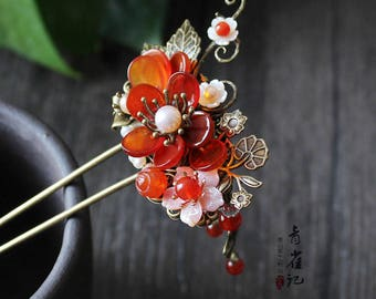 Chinese hair stick/flower hair stick/hair pin,pink hair accessories,gift for women,gift for her