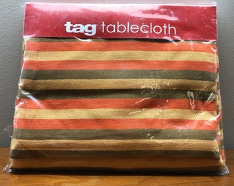 vintage style TAG, Ltd., rectangular tablecloth, 100% cotton made in India, orange, olive green, yellow stripes