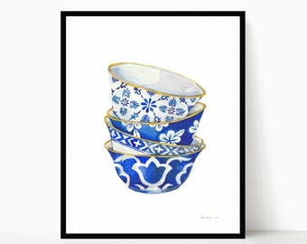 Chinoiserie Print Blue and White Porcelain Bowls Print Watercolor Chinoiserie Art Chinese Bowl Asian Decor Kitchen Art Print Wall Art