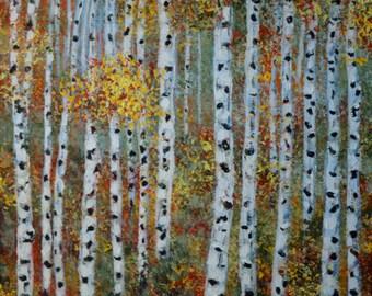 Fall aspen trees painting, impressionism landscape art, Autumn leaves, original fine art wall art, 24x12 canvas art
