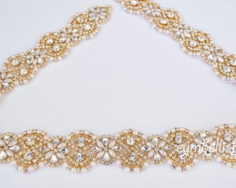 Full Length Gold and Pearl Rhinestone Bridal Belt- All the Way Around Embellished Gold Bridal Belt with Clasp-  Pearl bridal Belt Sash-B045P