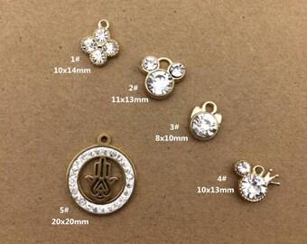 10PCS, Crystal Charm, Hand Charm, Jewelry Charm, Craft Supplies, Gold Tone
