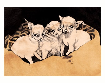 THREE PUPPINS *SALE* 5x7 (Giclée Print of Original Ink + Coffee Painting)