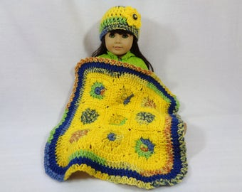 Doll Blanket, American Girl Doll Afghan and Hat, Crochet Yellow and Blue 18 Inch Doll Blanket, Easter Basket Gift, Colorful Dollhouse Quilt