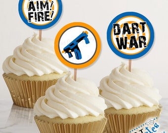 Dart War Party Cupcake Toppers, Dart War Tags, Dart Party Favor Tags, Dart War Party Decor, Dart Gun Favor Tags and Stickers | PRINTABLE