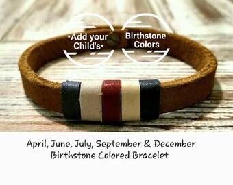 "Mens Leather Bracelet Mens Birthstone Bracelet for Dad & Mom Custom Leather Bracelet w/ Child's ""BIRTHSTONE""Colors [please order in advance]"