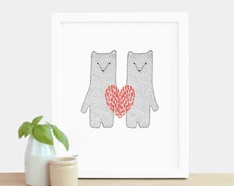Valentine's Day Print Red Love Heart Bears Print A5 Risograph Print Engagement Print Wedding Gift Anniversary Print Gift Animals Bears