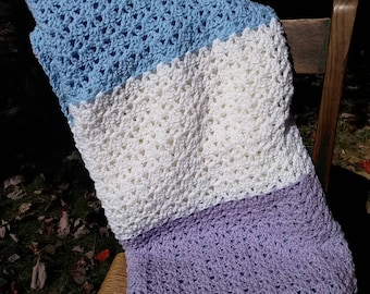 Pastel colors crocheted afghan