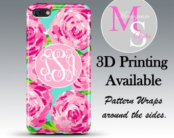 Monogram iPhone 7 Case Personalized Phone Case Lilly Pulitzer Inspired, Iphone 4 4S, iPhone 5, 5S, 5C, iPhone 6S, 6, 6 Plus Tough Case #2083