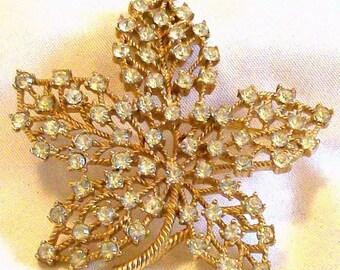 Signed Crown Trifari Clear Crystal Rhinestone and Gold Tone Leaf Brooch Pin Vintage Designer 1960s