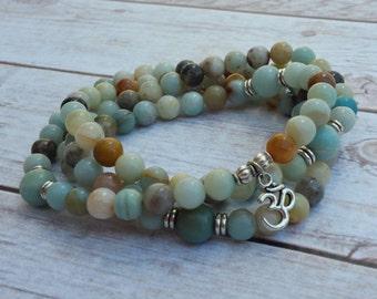 108 Mala Necklace, Amazonite Mala, 108 Beaded Prayer Necklace, 108 Mala Bracelet, 108 Beaded Mala, Om Mala Necklace, Ohm Mala