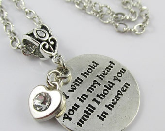 I Will Hold you in my Heart Charm Sweater Necklace 75cm Silver Tone Chain (C2547/C958/NFS010)
