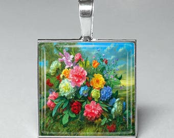 pink red blue flowers carnations garden glass tile pendant necklace jewelry