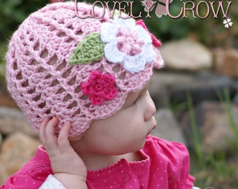 Hat Crochet Pattern for Garden Fairy Hat  - sizes from newborn to 4T digital