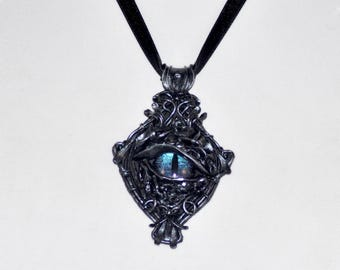 Dragon Eye Pendant, Steampunk Dragon Eye, Color Change Dragon Eye, Victorian Dragon Eye, Fantasy Jewelry
