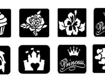 Glitter Tattoo Stencils,  Tattoo Stencils, Henna Tattoo Stencils, +Party Favors, 24 Stencils
