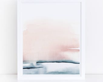 Blush Pink Print, Printable Bedroom Art, Watercolor Printable, Blush Pink and Blue, Abstract Art, Simple Print, Pink Wall Art, Art Print