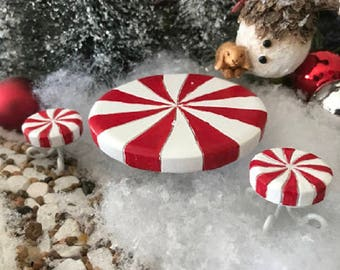 Miniature Candy Cane Peppermint Table and 2 Stools - 3 pc set