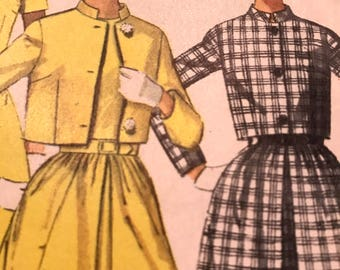 Cute Cropped Jacket and With Mandarin Collar and Dress Pattern---Simplicity 7438---Size 14  Bust 36
