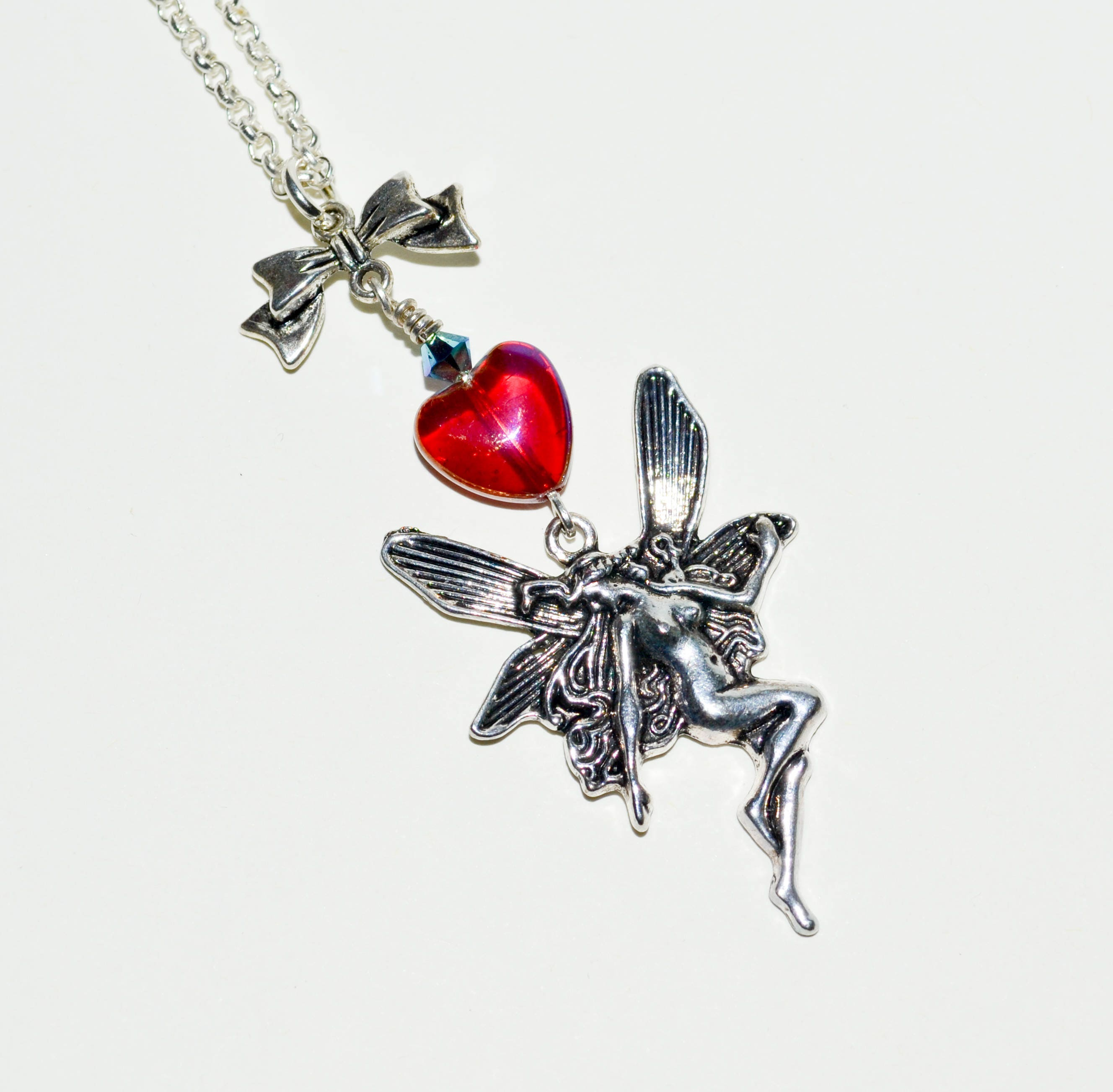 wing sterling glass silver autumn products faery soldered pendant fairy necklace with miniature