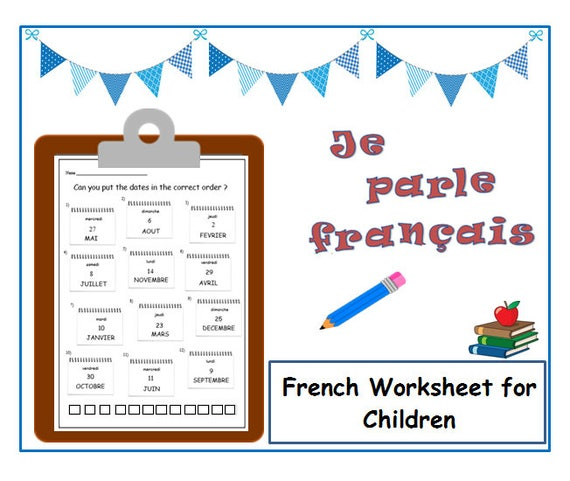 DAYS & MONTHS FRENCH Learning Kids Worksheet / Language