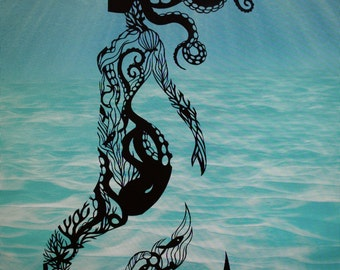 Original Paper Cutting -- Mermaid