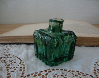 Antique English 1890's Aqua PEACOCK Blue Green Ribbed Glass INK Bottle - Grooved Quill Pen Rest - Inkwell - Very Bubbly - Odd Color!