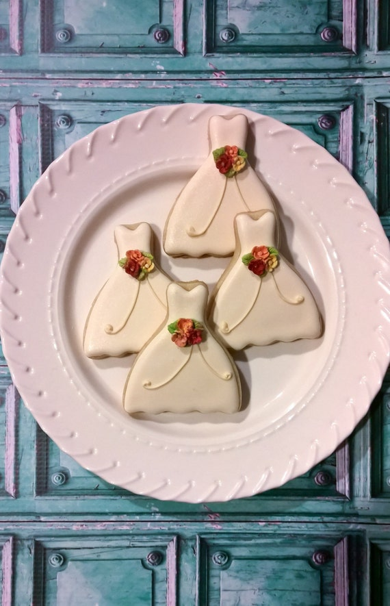 50 Petite Sized Dress Cookies- Cookie Favors, Wedding Cookies,  Bridal Shower Cookies, wedding gown cookies