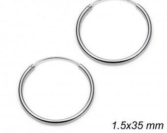 Hoops 1.5 X 35 Mm Sterling Silver 925
