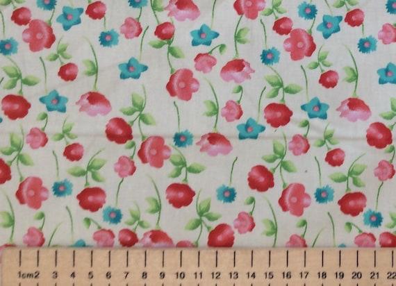 High quality cotton poplin, floral print on ivory