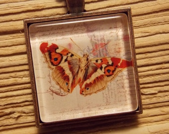 Glass Tile Necklace- Vintage Moth